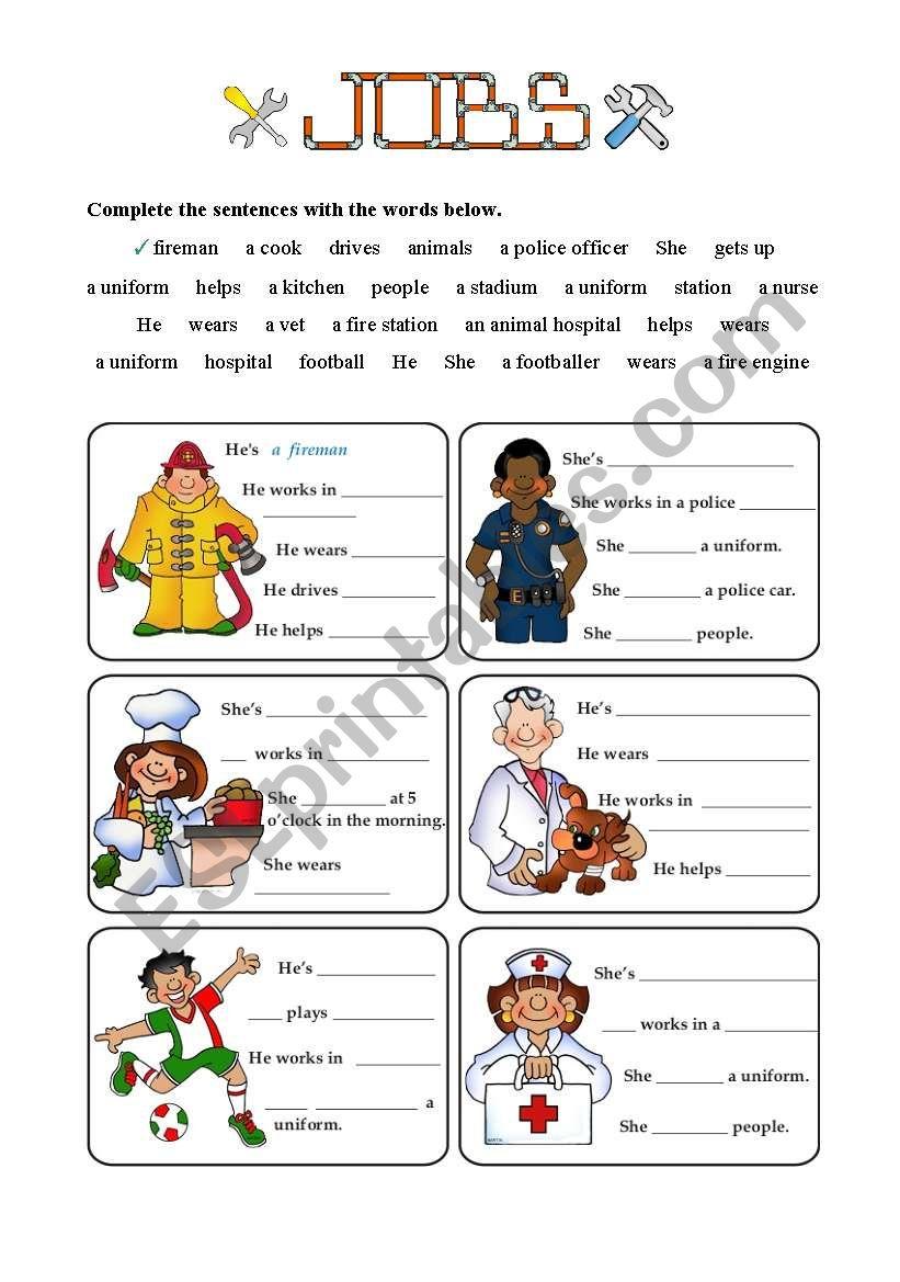 JOBS - Job factfiles - 4 of 7 worksheet