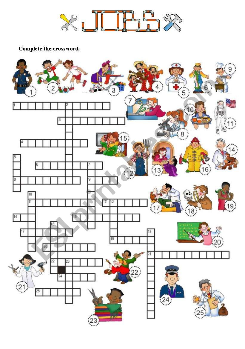 JOBS - Crossword - 3 of 7 worksheet