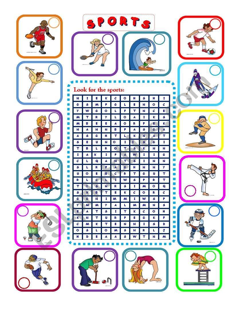 -16 Sports- WORDSEARCH  worksheet