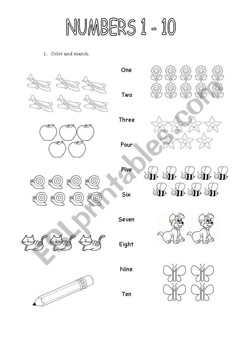 numbers 1 -10 - ESL worksheet by katy2012