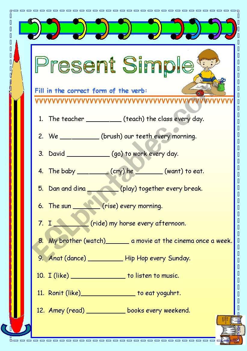 present simple 2 worksheet