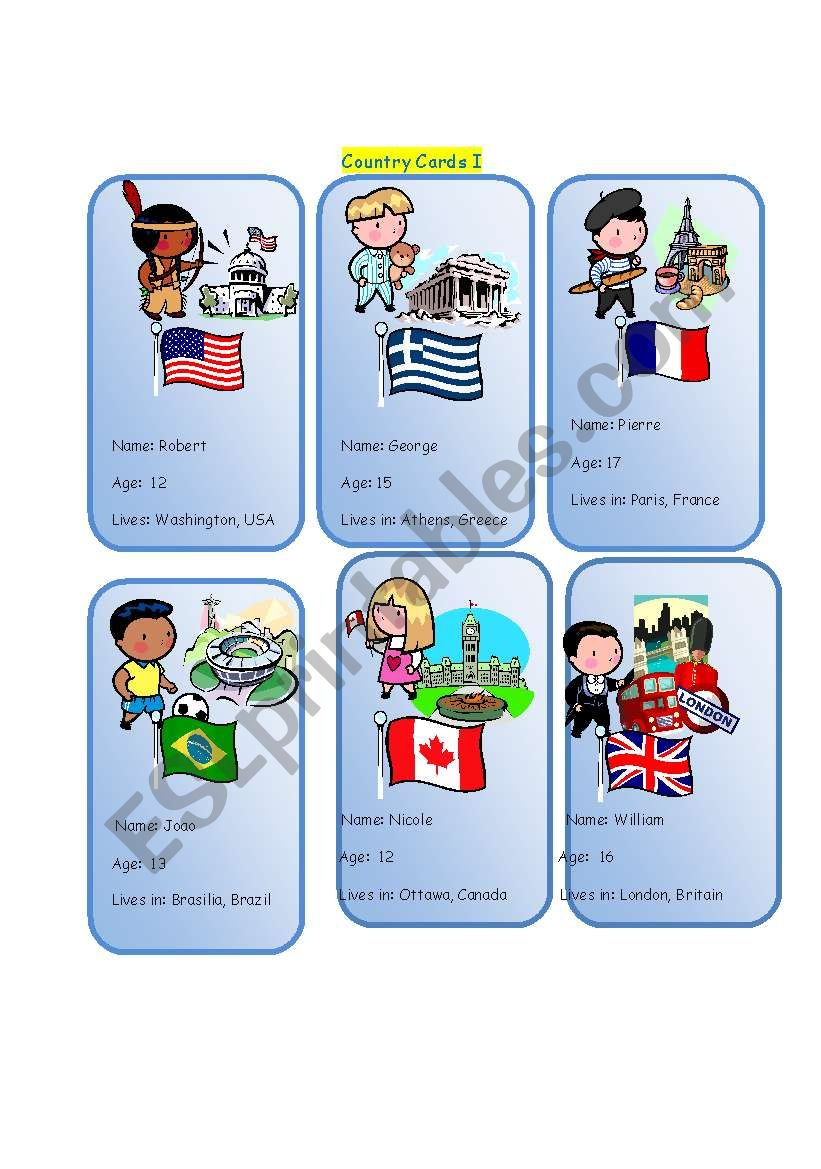 Country cards 1 worksheet