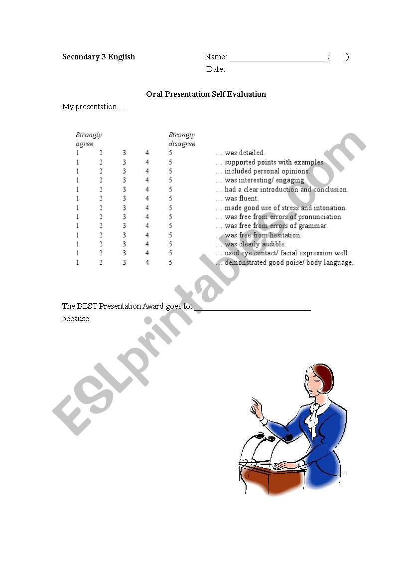 Oral Self Evaluation Form worksheet