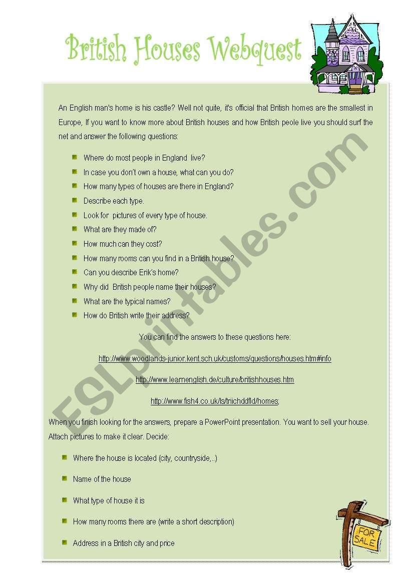 British houses webquest worksheet