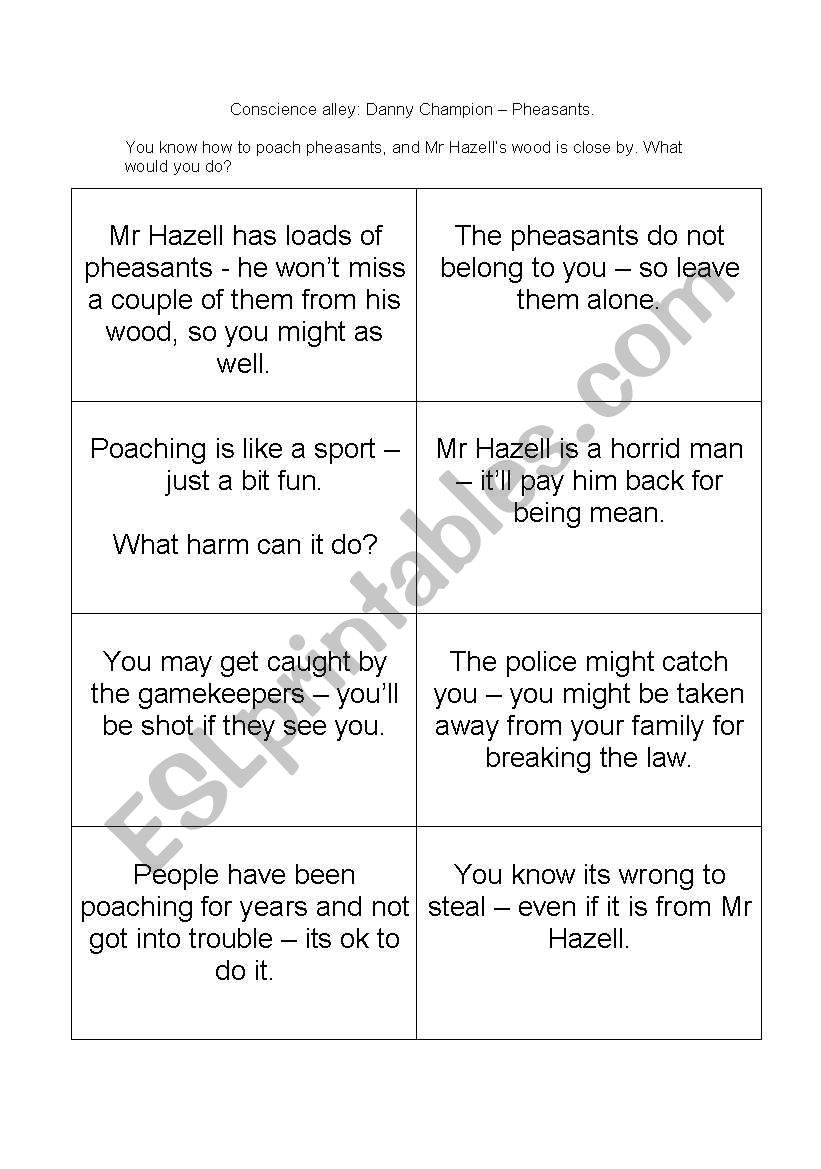 worksheet Danny Champion Of The World Worksheets english worksheets conscience alley danny champion of the world by roald dahl