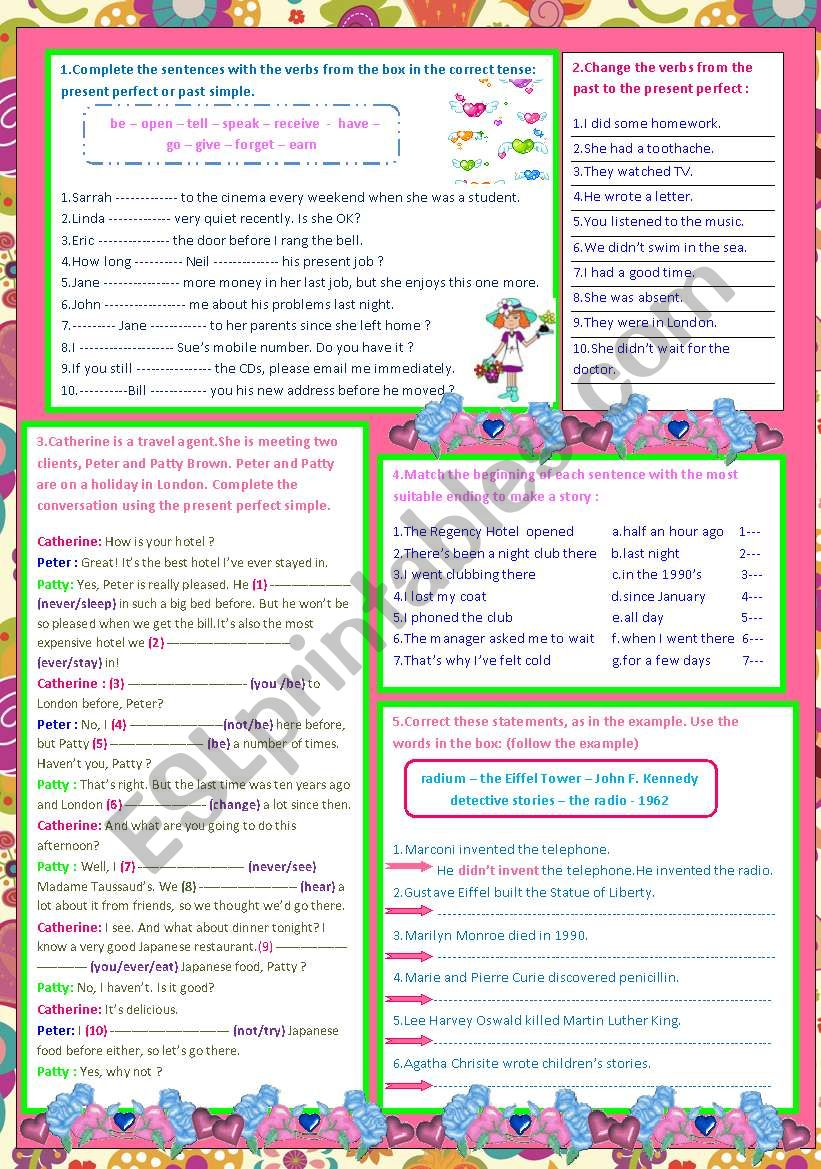 past simple-present perfect - ESL worksheet by sarrah mohammed