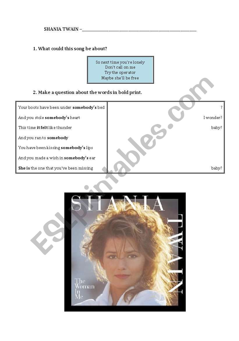 English Worksheets Shania Twain Whose Bed Have Your Boots