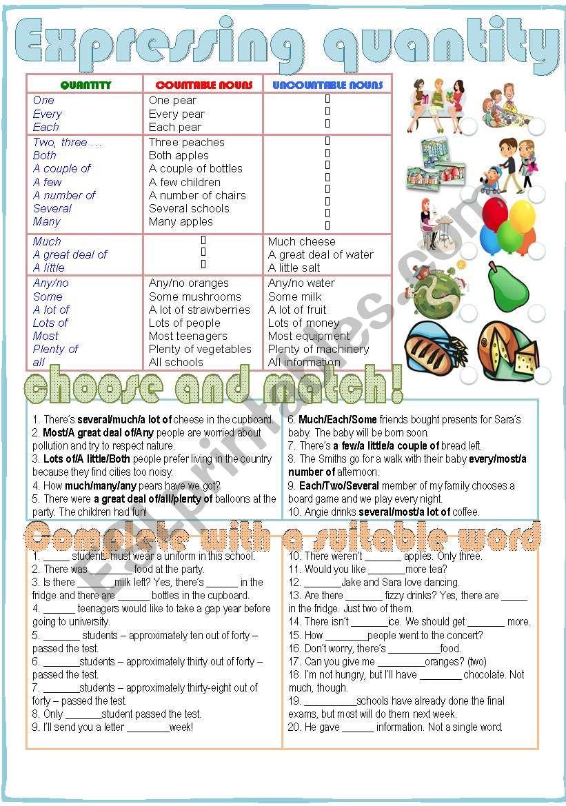 Expressing Quantity worksheet