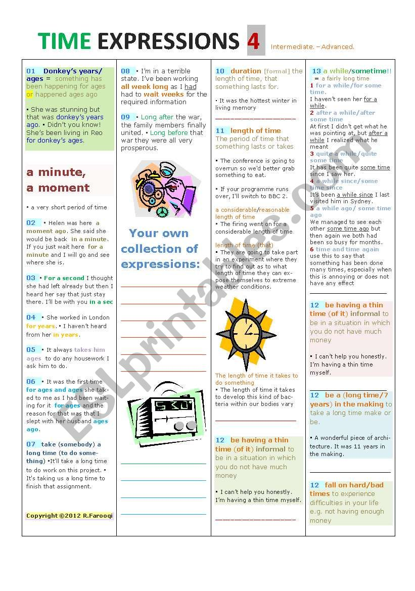 Time EXPRESSIONS PART4 worksheet