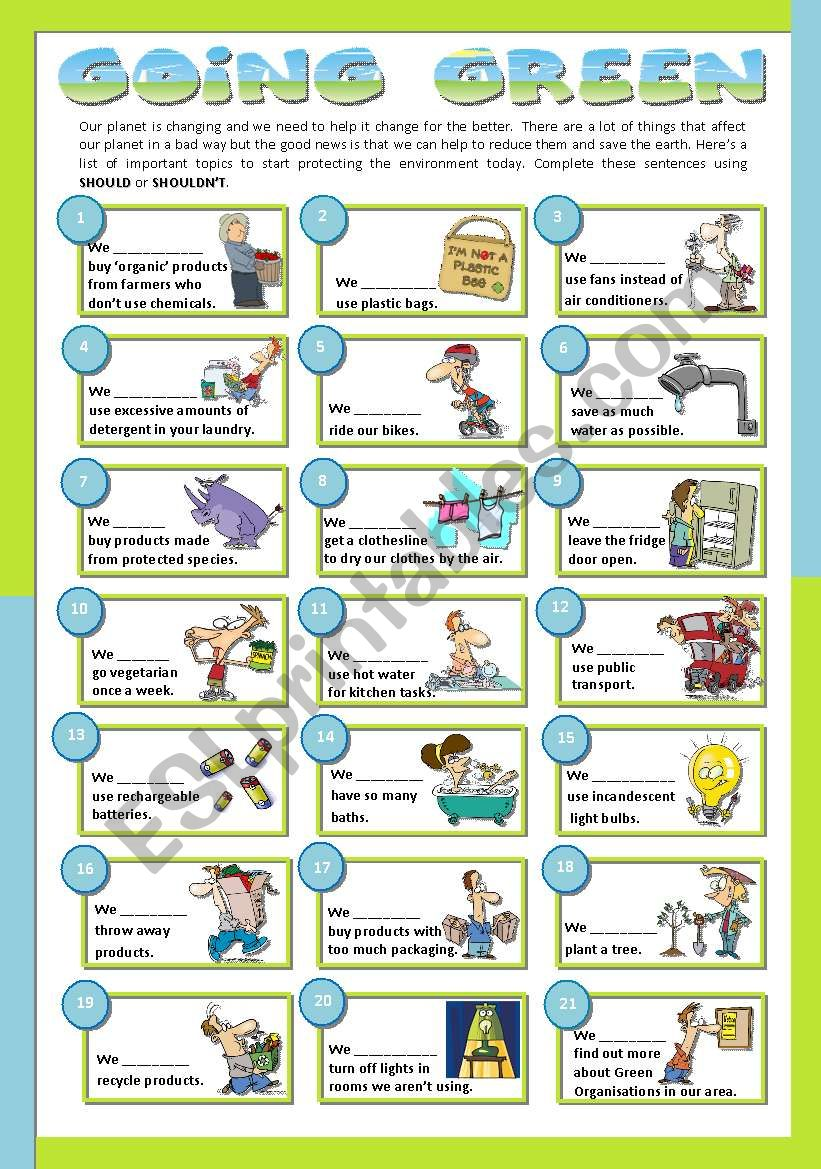 GOING GREEN worksheet