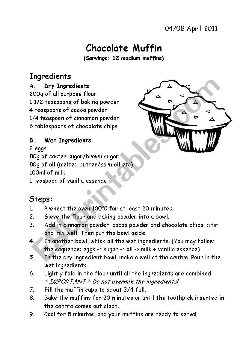 Recipe - Chocolate Muffin worksheet