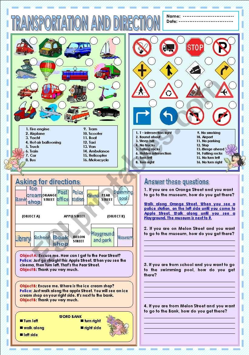 Transportation & Direction worksheet