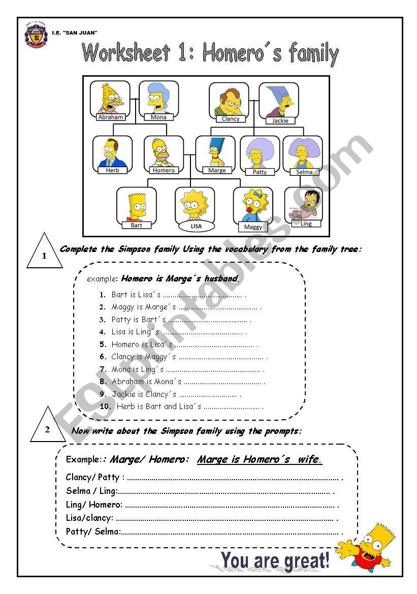 HOMERO´S FMAILY worksheet