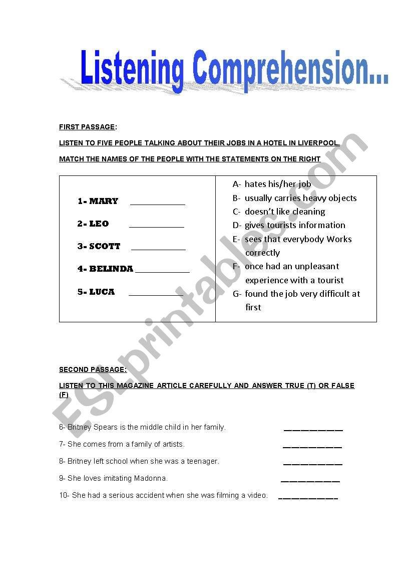 - English Worksheets: Listening Comprehension