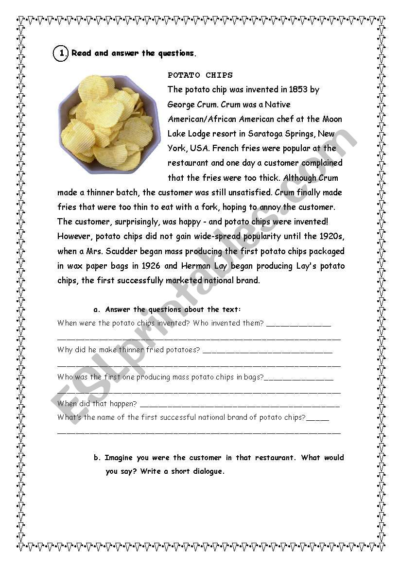 Potato chips reading comprehension