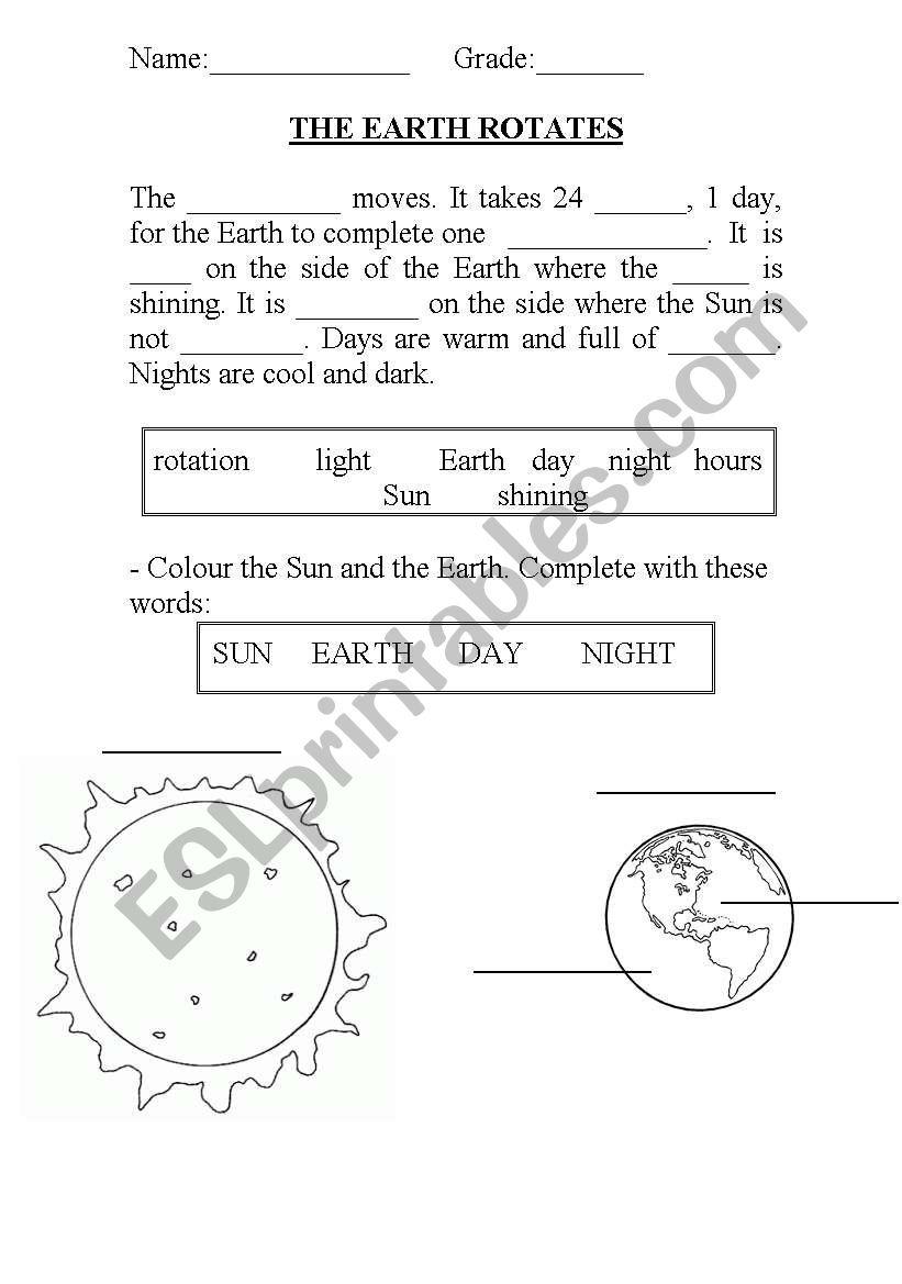 the earth rotates esl worksheet by charlie ms23. Black Bedroom Furniture Sets. Home Design Ideas