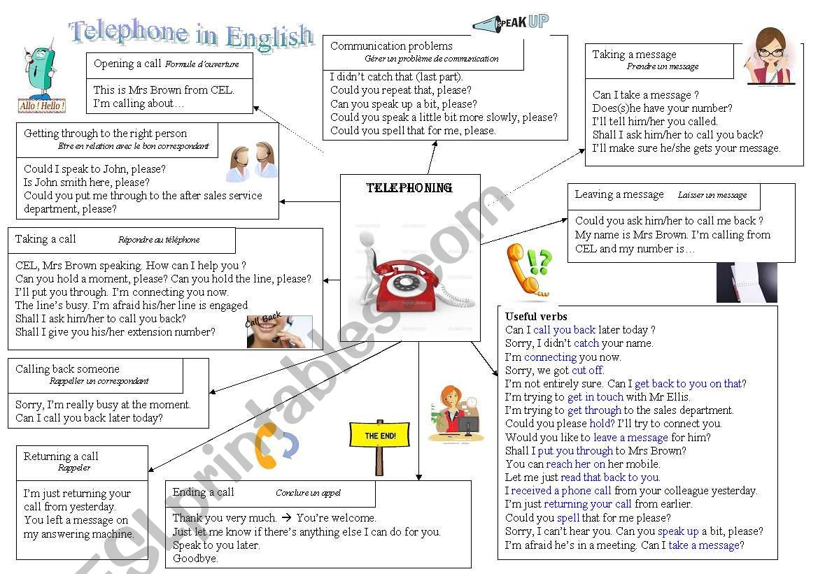 Telephone in English worksheet