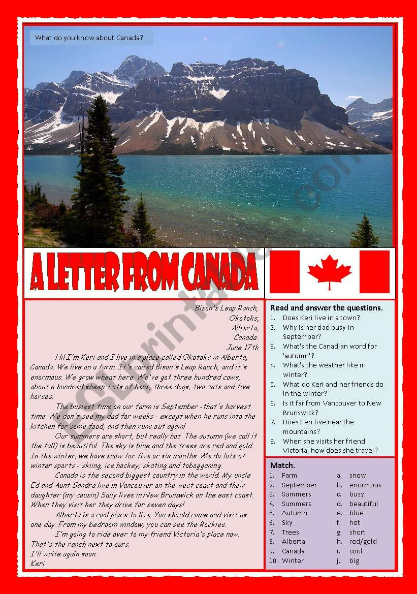 A letter from Canada worksheet