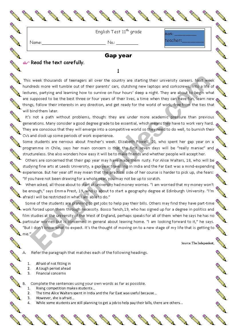 gap year worksheet