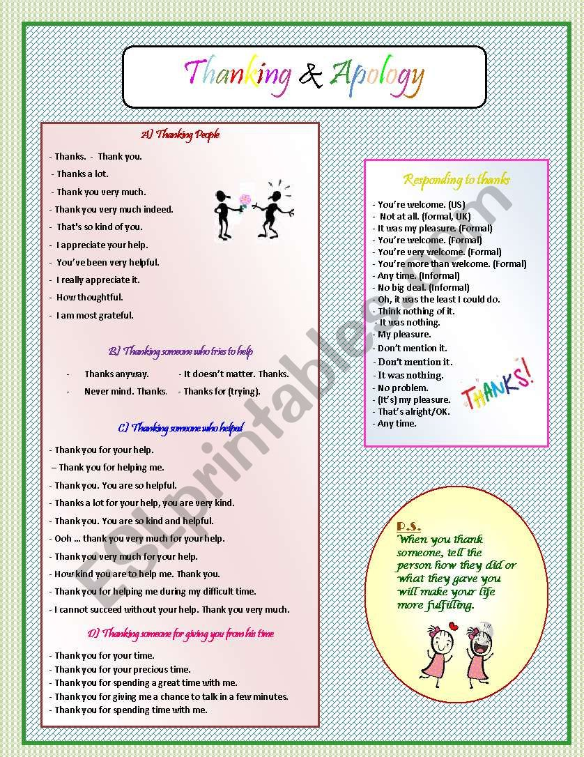 Thanking & Apology worksheet