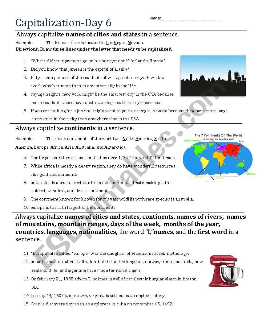 Capitalization- Day 6 worksheet