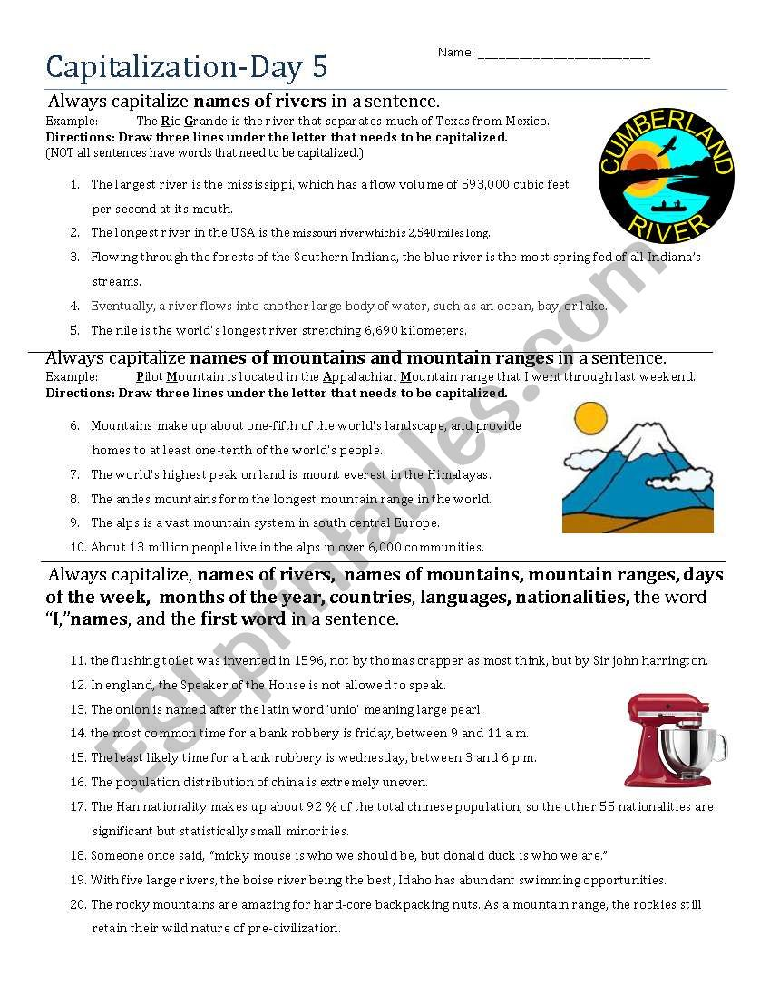 Capitalization- Day 5 worksheet