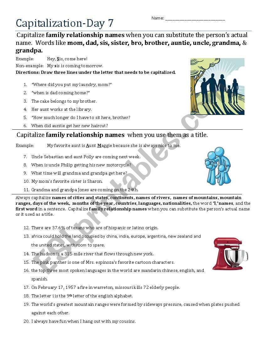 Capitalization- Day 7 worksheet