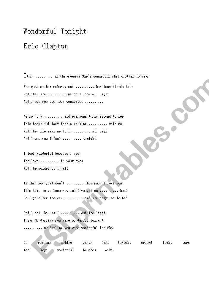 Wonderful tonight text clapton Eric Clapton