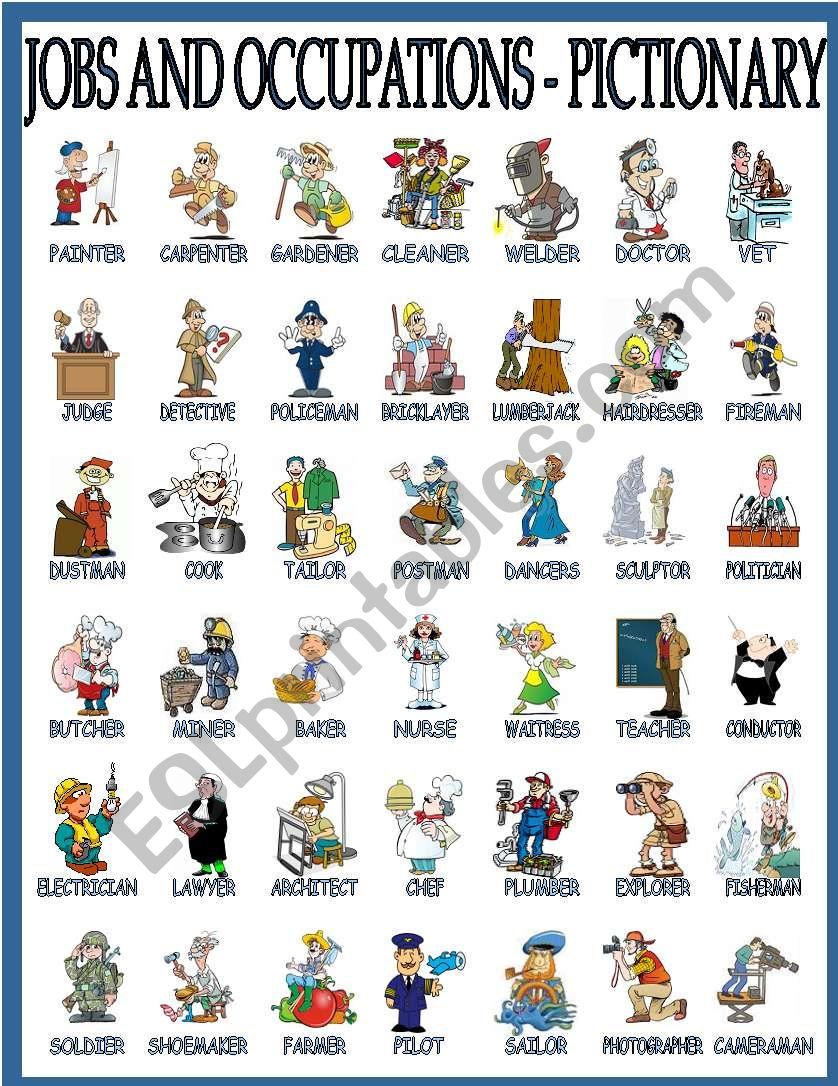 jobs pictionary worksheet