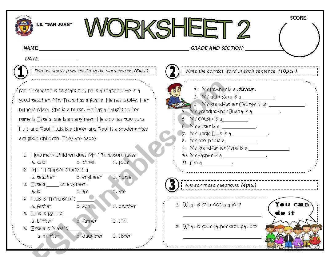 MY FAMILY OCCUPATIONS worksheet