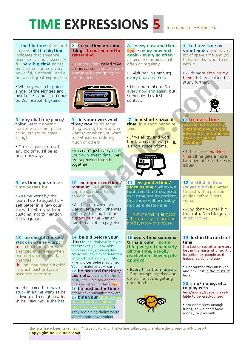 TIME EXPRESSIONS PART 5    time Idioms this time !!!!!  EDITABLE