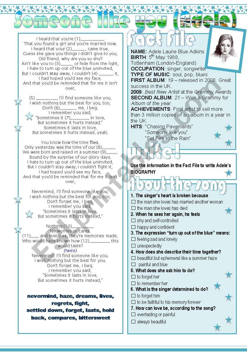Someone like you (Adele) worksheet
