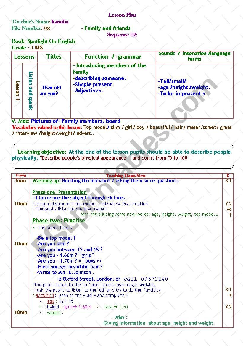 family and friends worksheet