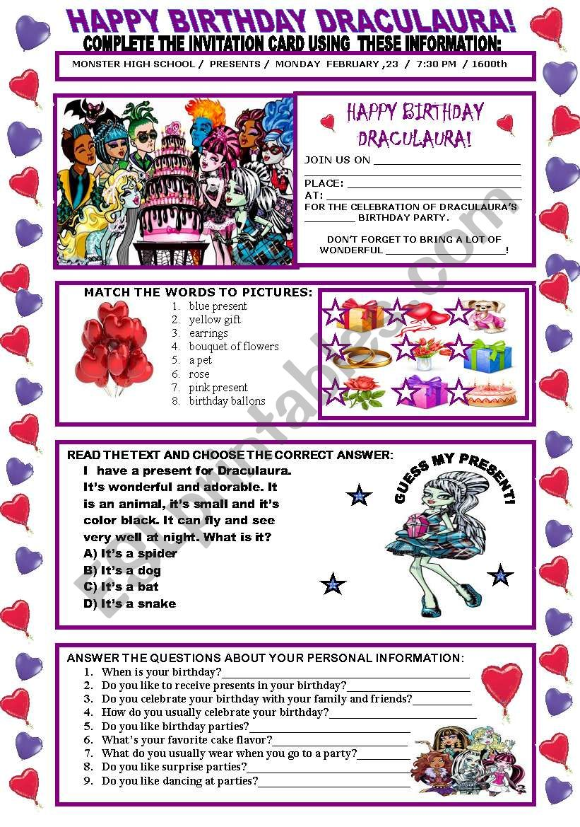 happy birthday draculaura esl worksheet by beauty and the best. Black Bedroom Furniture Sets. Home Design Ideas