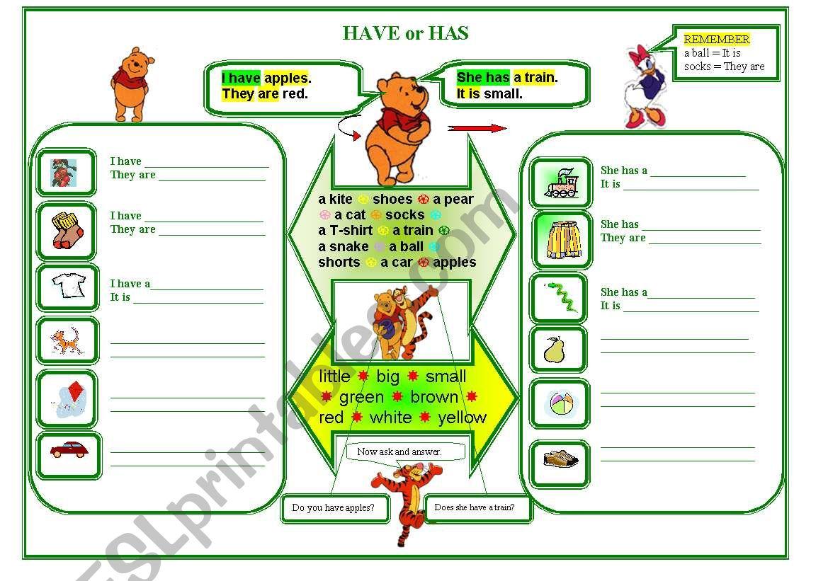 HAVE OR HAS worksheet