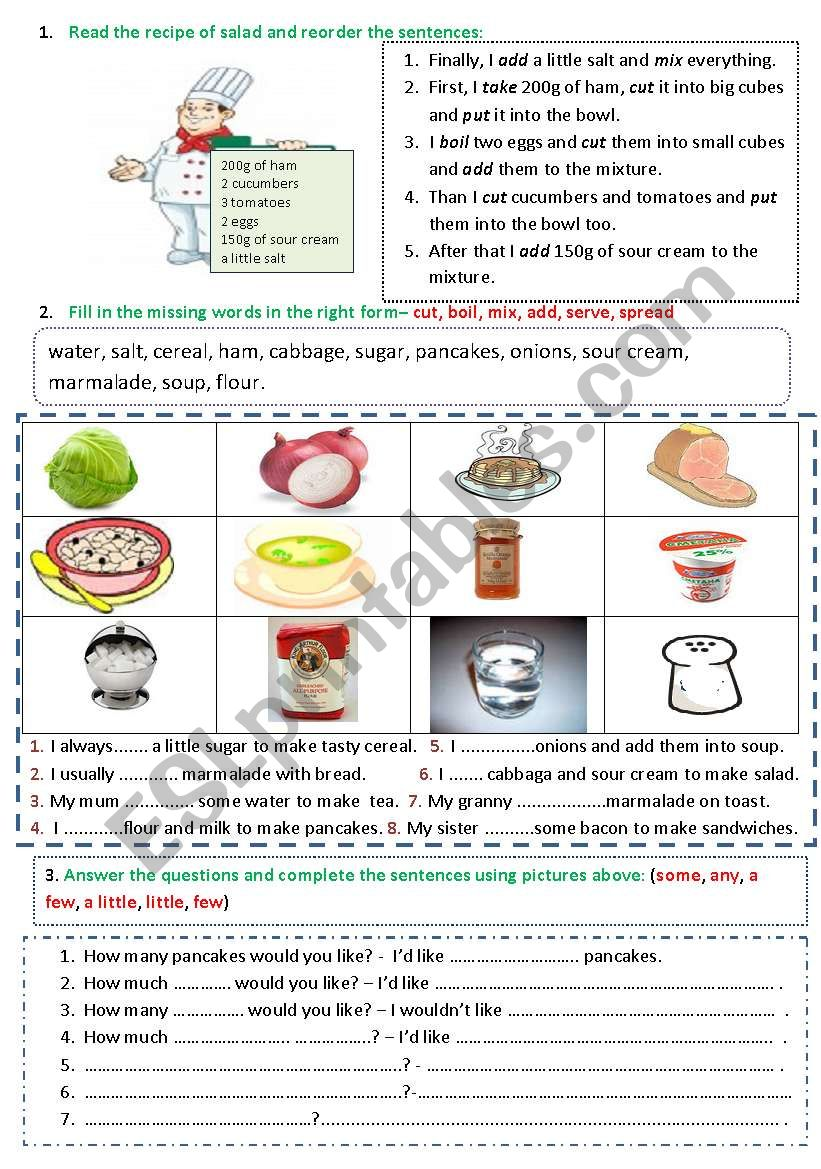 Food (recipe of salad / verbs of cooking / how much_how many