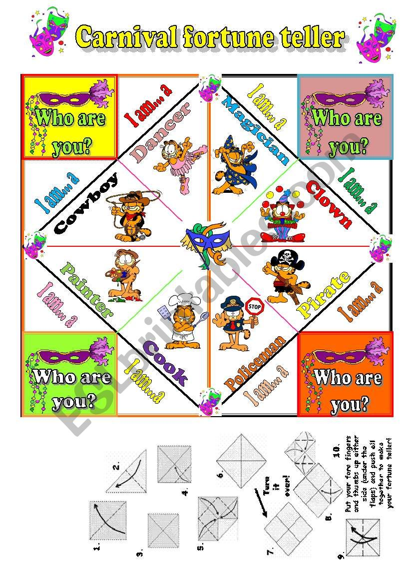Carnival Fortune Teller worksheet
