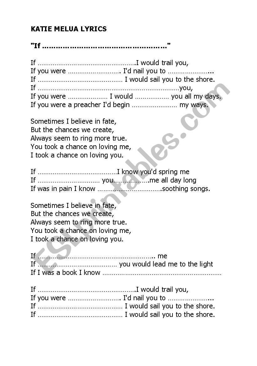 Katie Melua Lyrics -  If you were a sailboat