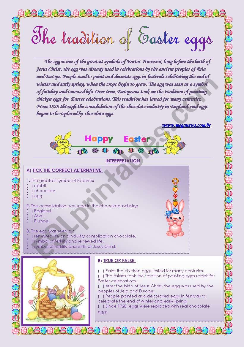 THE TRADITION OF EASTER EGGS worksheet