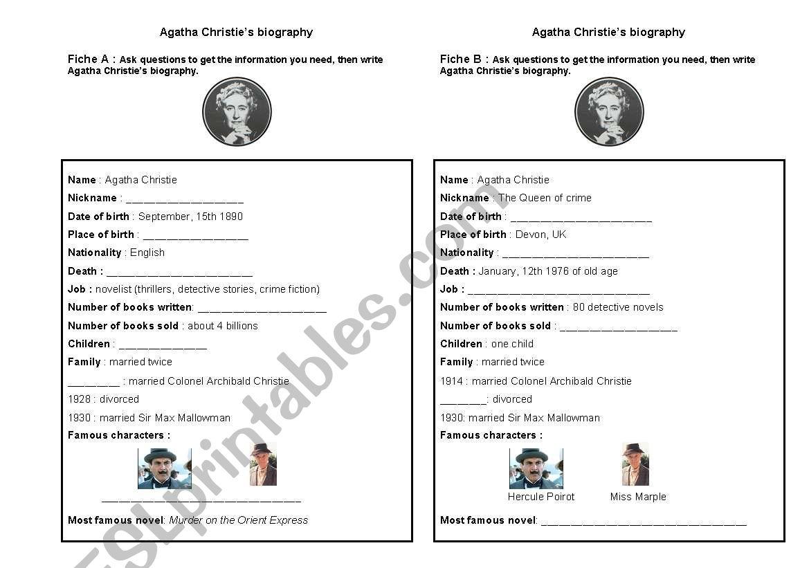 Agatha Christie´s biography worksheet