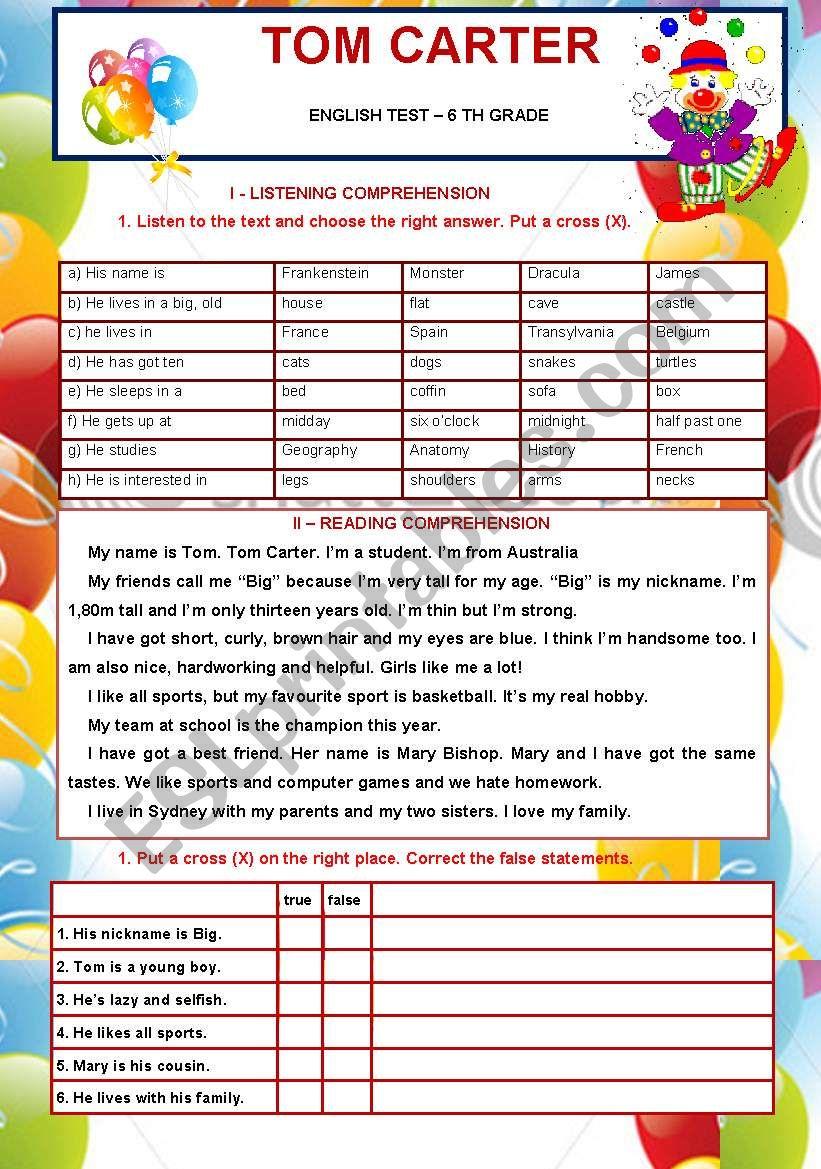 6th grade test worksheet