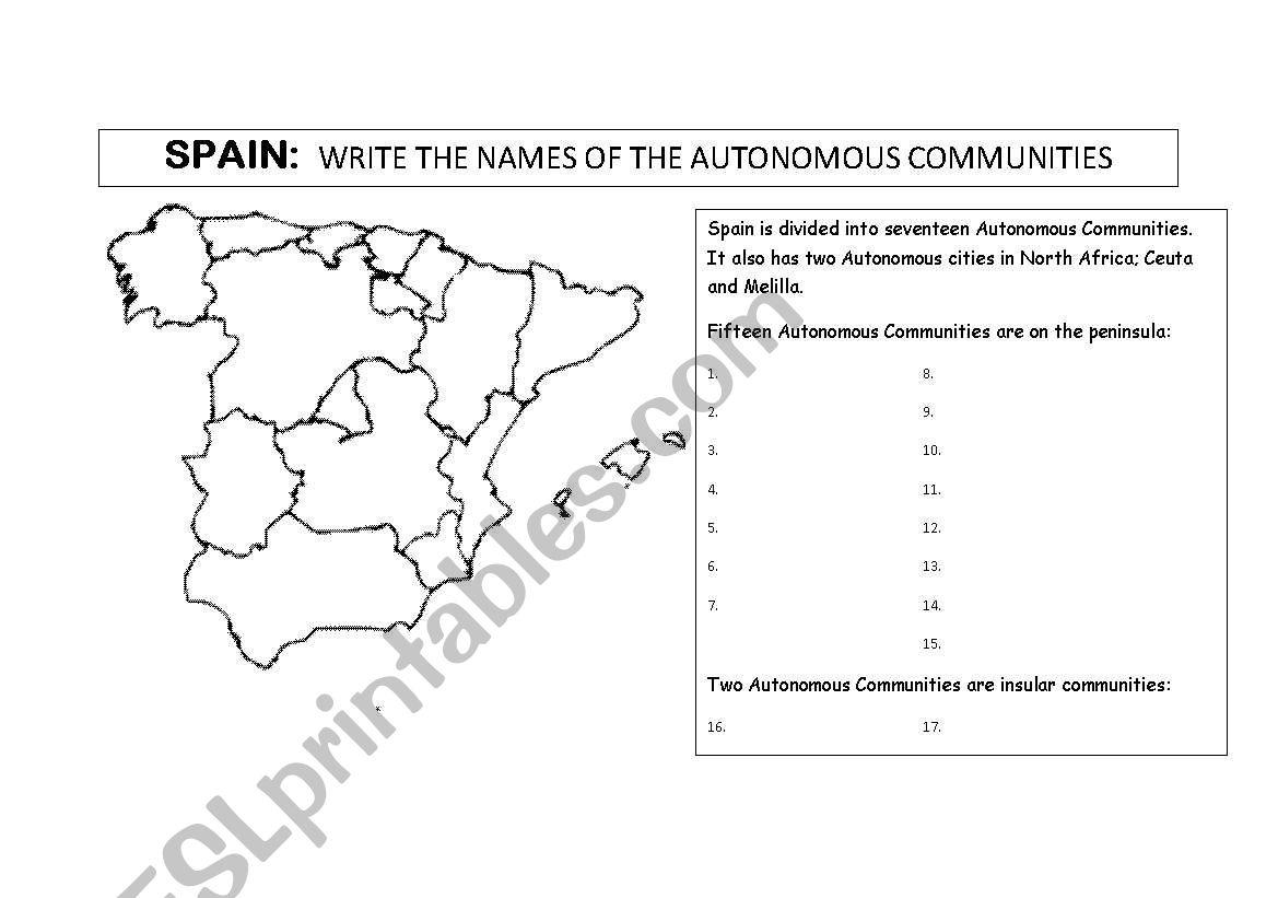 Spain: Regions worksheet