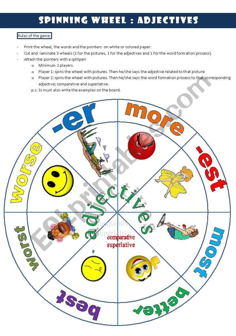 ADJECTIVES WHEEL worksheet