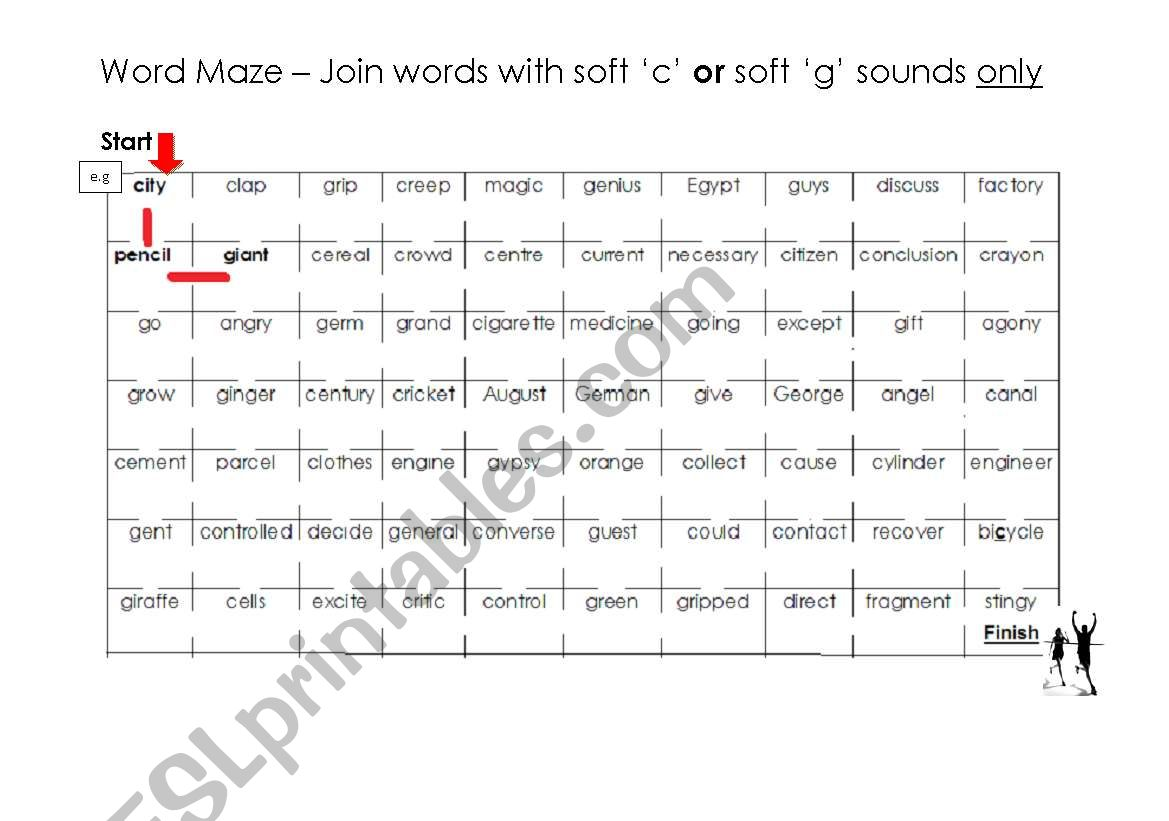 Soft C And G Word Maze And Answer Key Esl Worksheet By Puddyd
