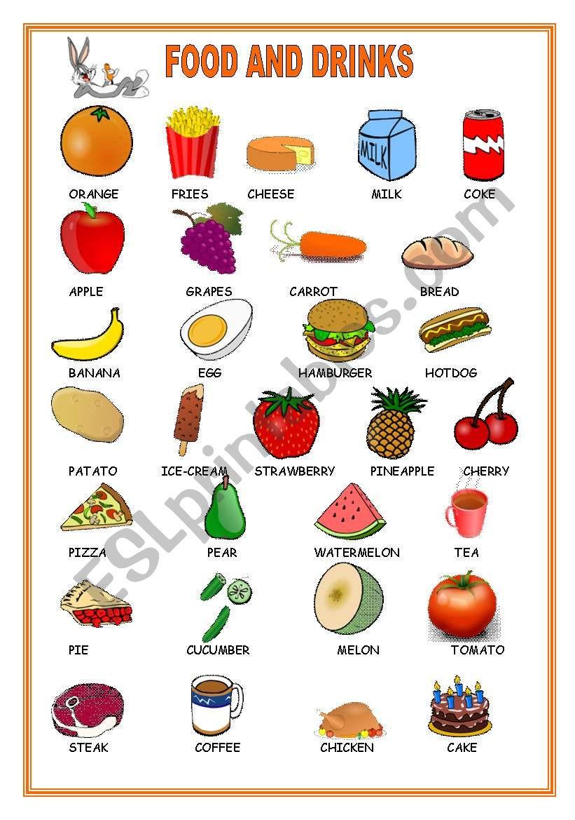 food drinks worksheet worksheets esl vocabulary preview wonderful