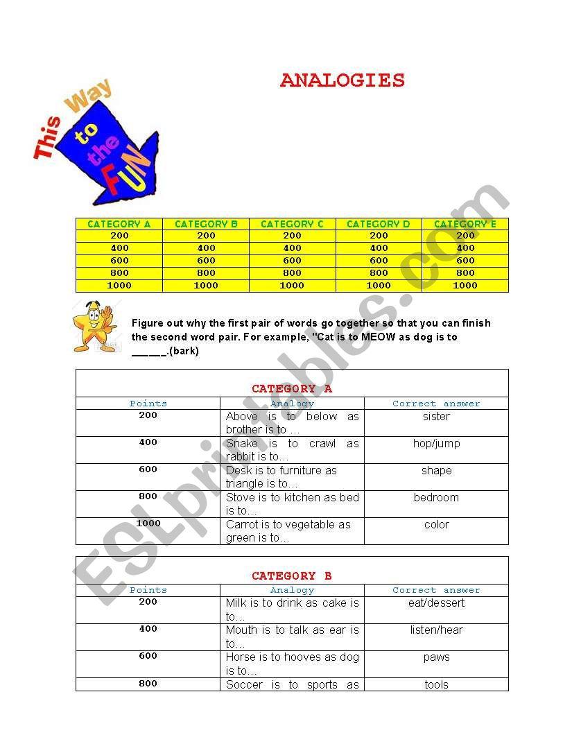 ANALOGY GAME worksheet