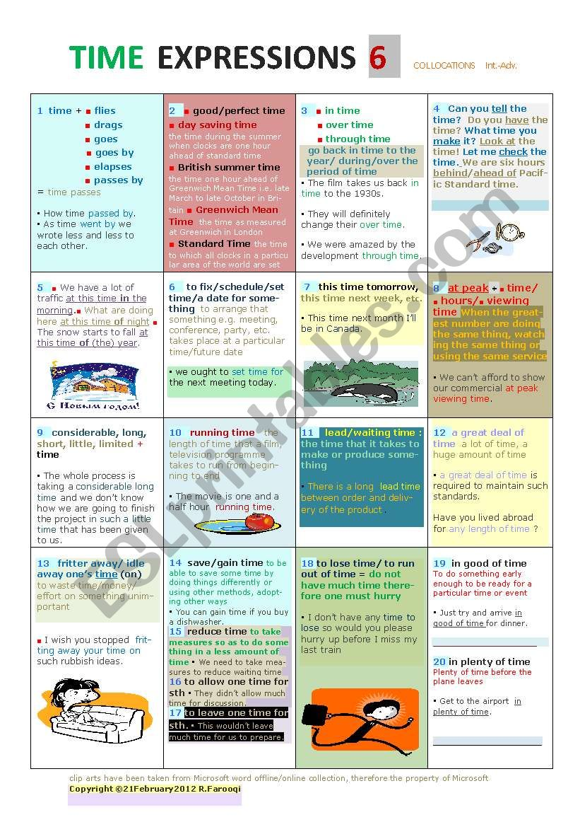 TIME EXPRESSIONS PART 6 Collocations PREVIEW AVAILABLE SOON Problem !!! :()