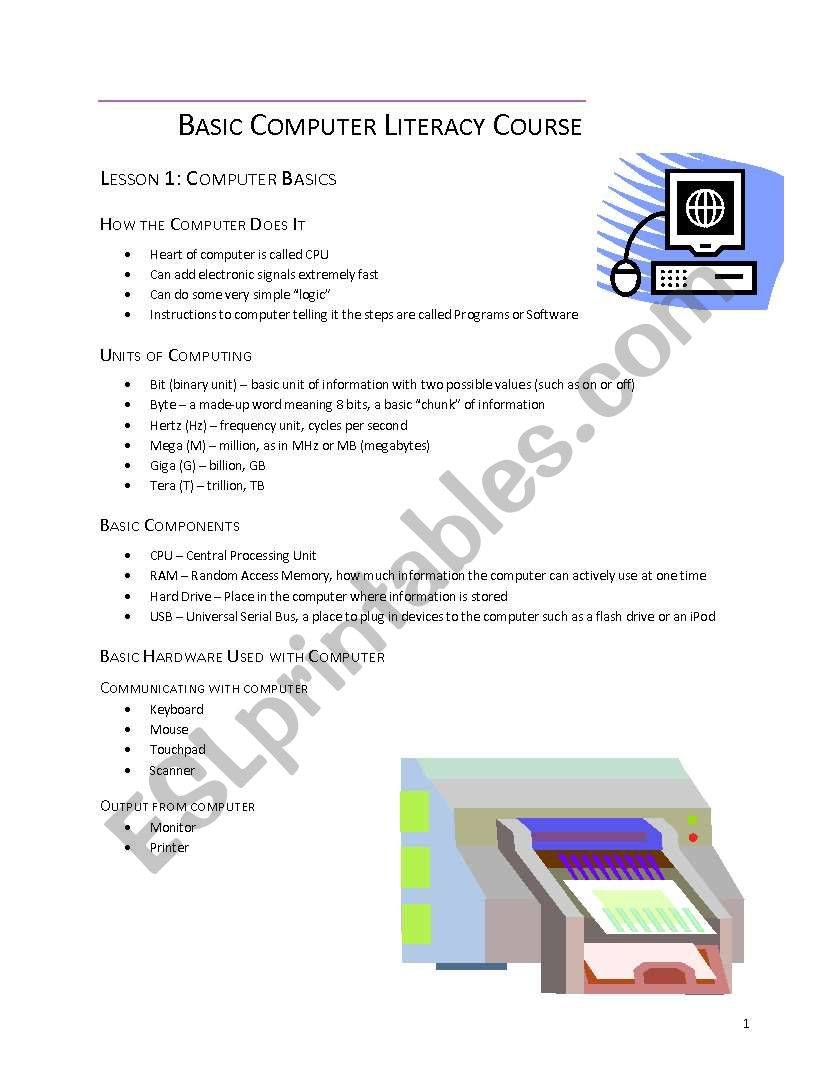 Basic Computer Literacy Course