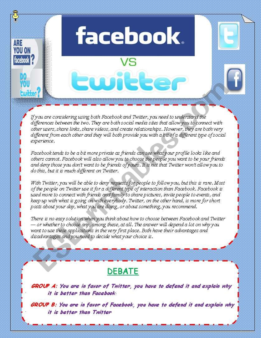 FACEBOOK  VS TWITTER  Reading and Speaking activities