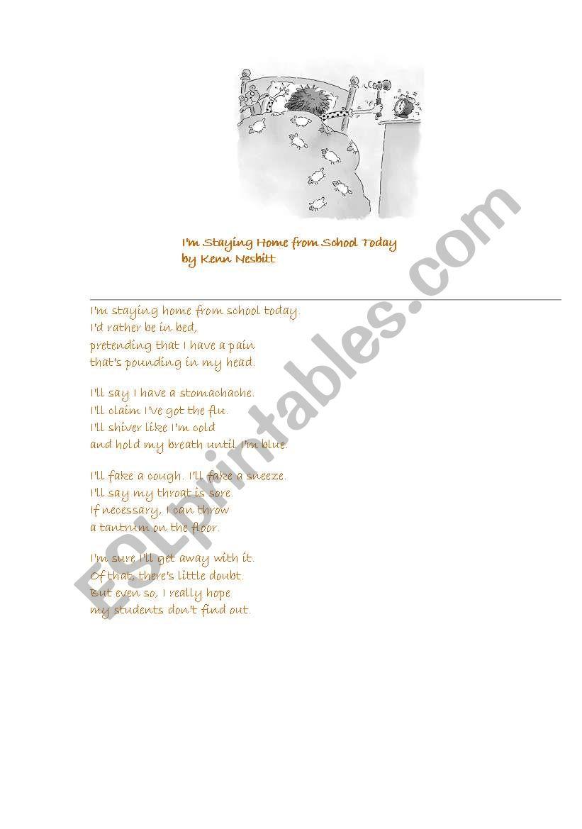 Funny poetry worksheet
